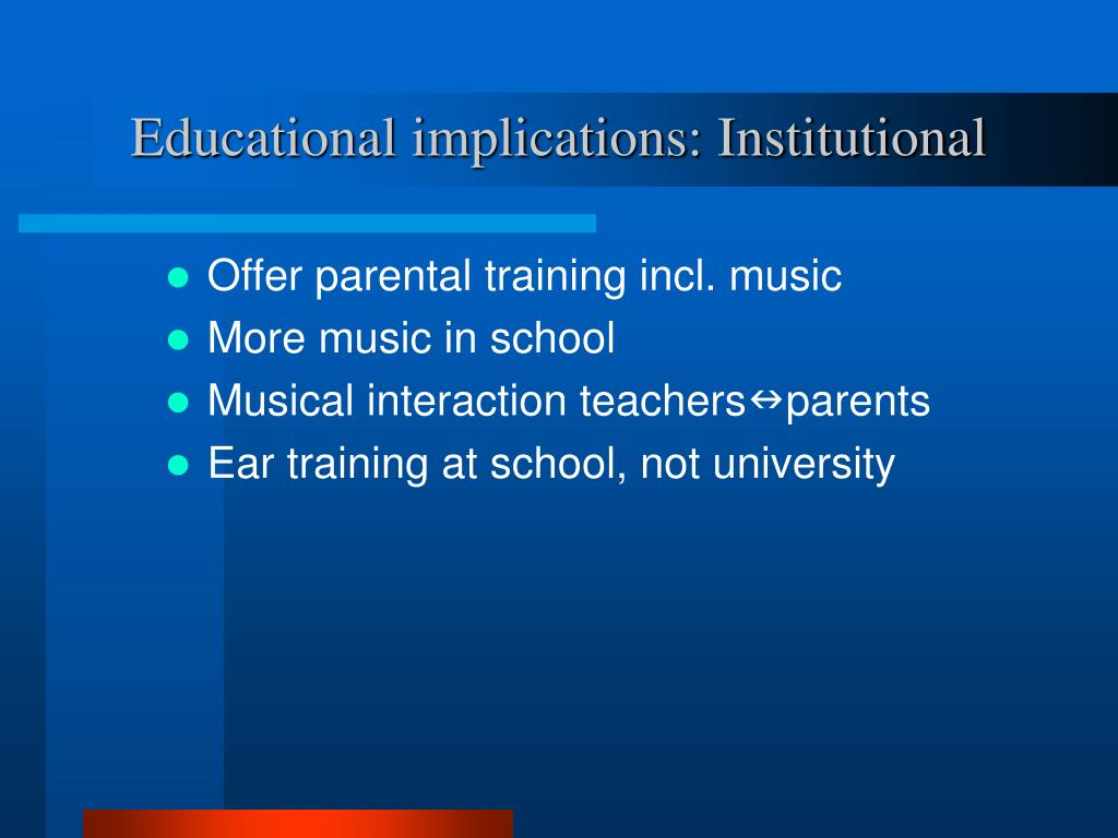 Educational implications: Institutional