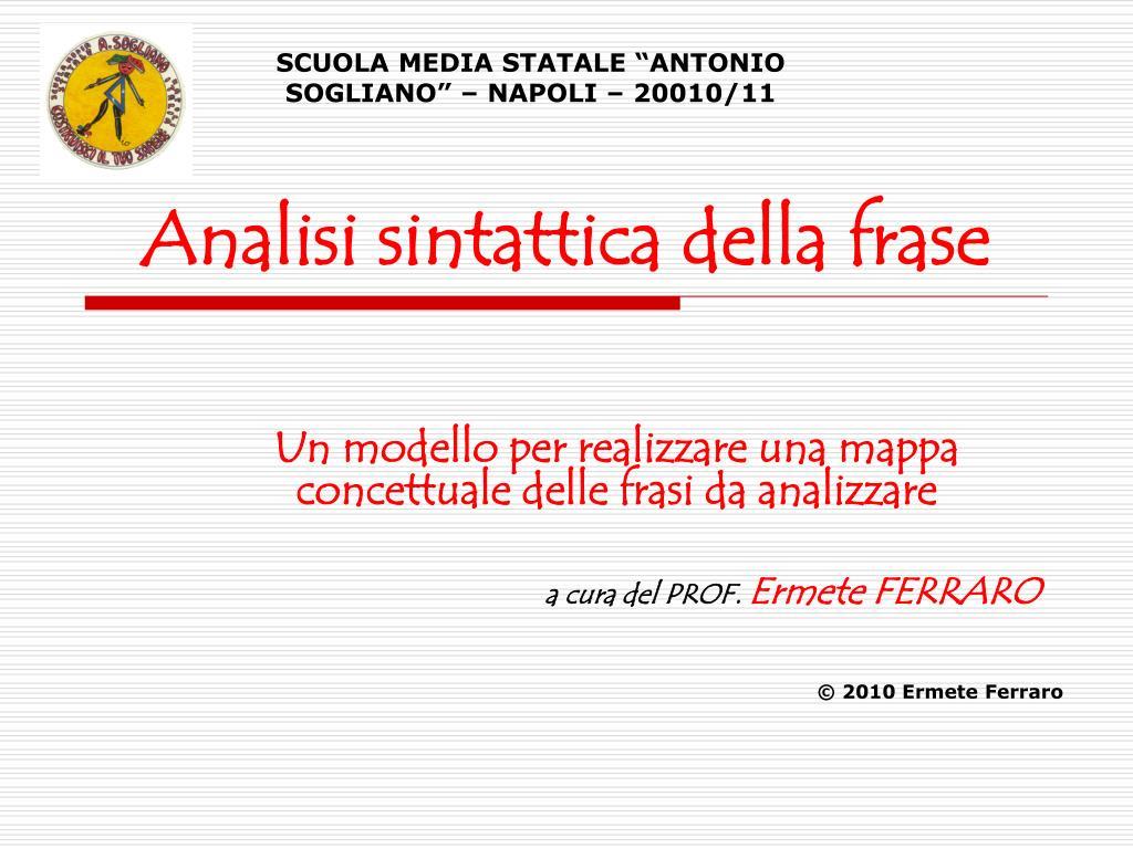 Ppt Analisi Sintattica Della Frase Powerpoint Presentation Free