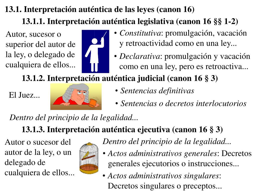 13.1. Interpretación auténtica de las leyes (canon 16)