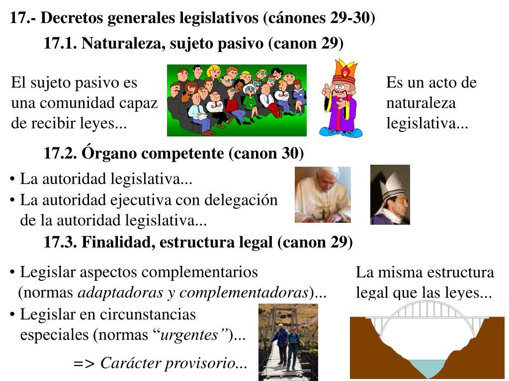 17.- Decretos generales legislativos (cánones 29-30)