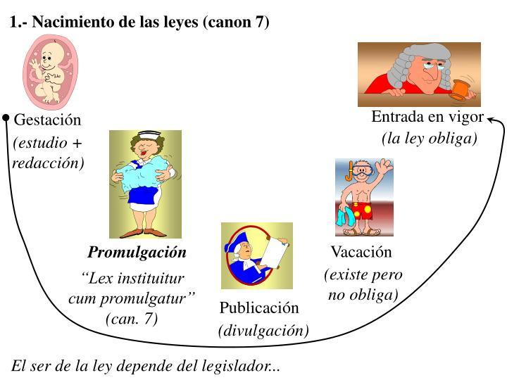 1.- Nacimiento de las leyes (canon 7)
