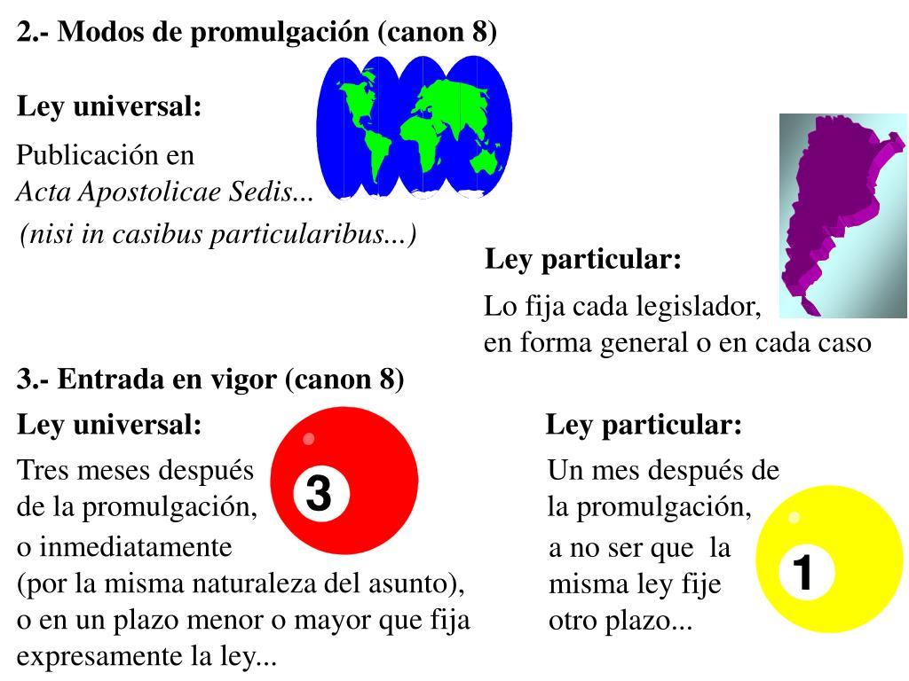 2.- Modos de promulgación (canon 8)