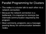 parallel programming for clusters