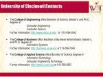 university of cincinnati contacts