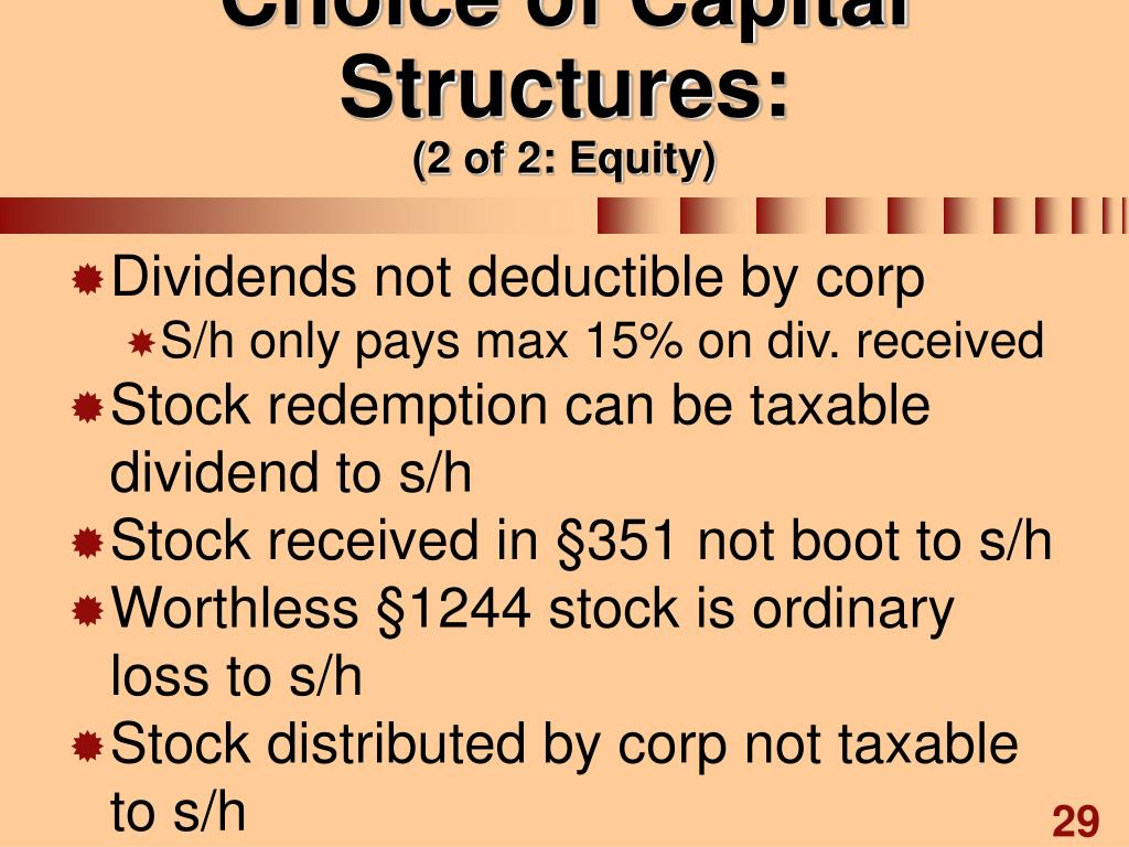 Choice of Capital Structures: