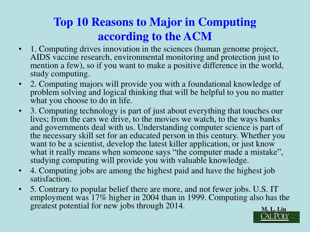 Top 10 Reasons to Major in Computing