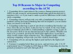 top 10 reasons to major in computing according to the acm