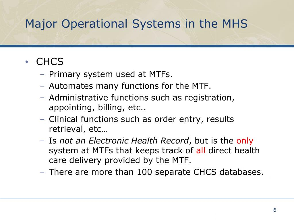 Major Operational Systems in the MHS