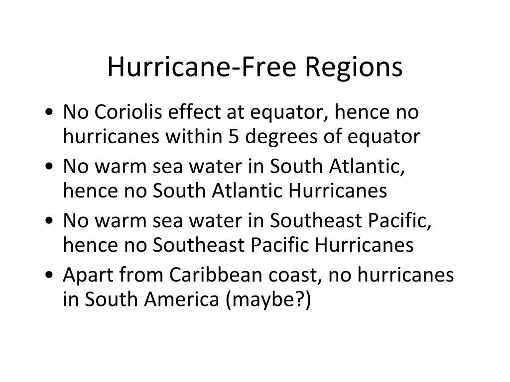 Hurricane-Free Regions