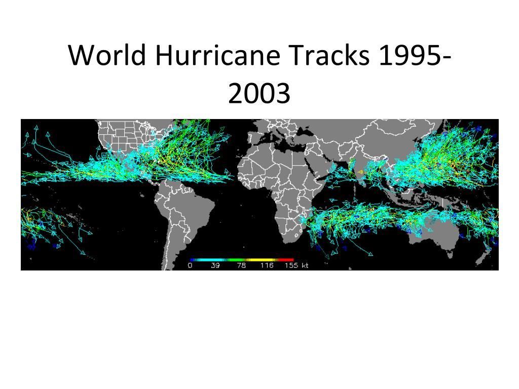 World Hurricane Tracks 1995-2003