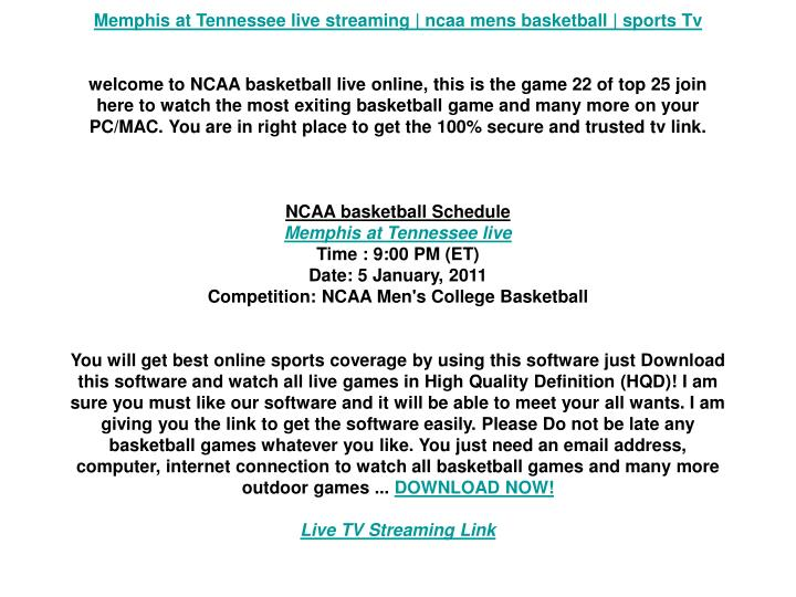 Memphis at Tennessee live streaming   ncaa mens basketball   sports Tv