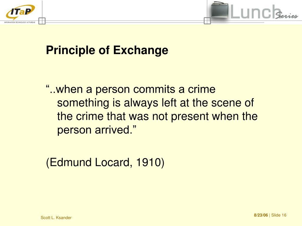 Principle of Exchange