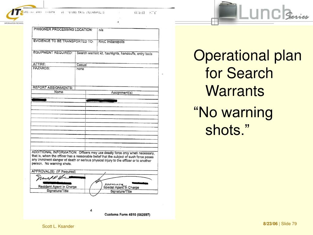 Operational plan for Search Warrants