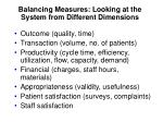 balancing measures looking at the system from different dimensions