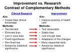 improvement vs research contrast of complementary methods