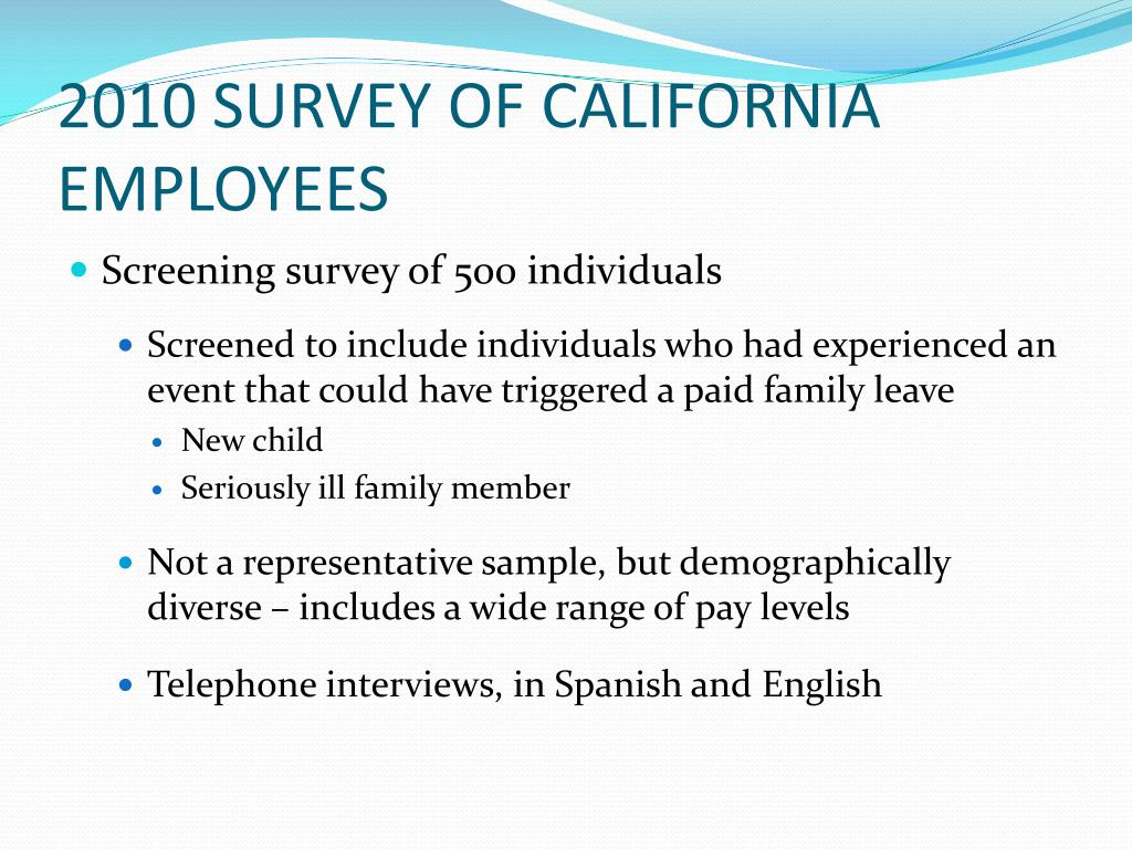 2010 SURVEY OF CALIFORNIA EMPLOYEES