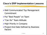 cisco s erp implementation lessons