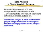 data analysis check needs in advance