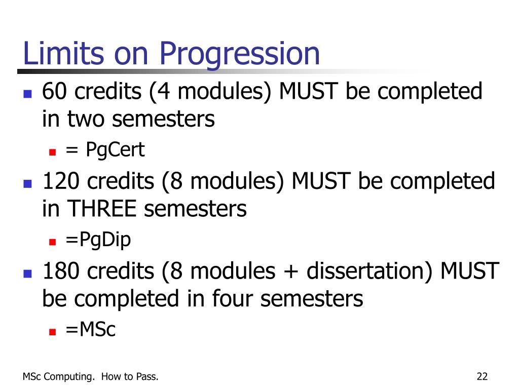 Limits on Progression