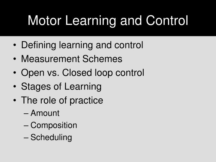 motor learning and control n.