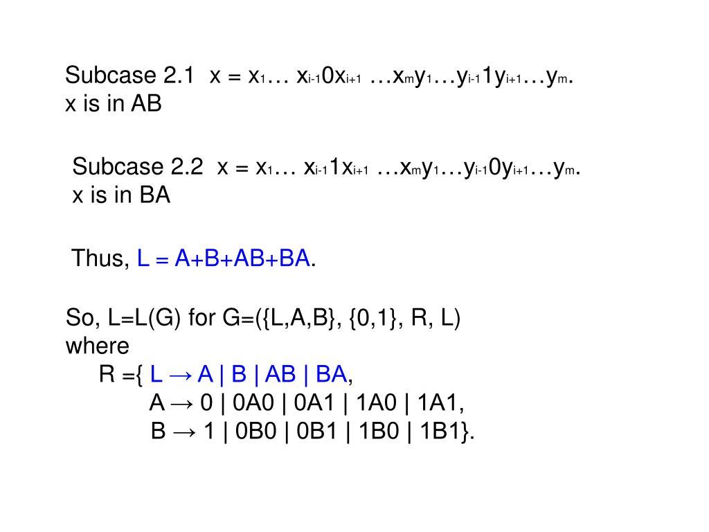 Subcase 2.1  x = x