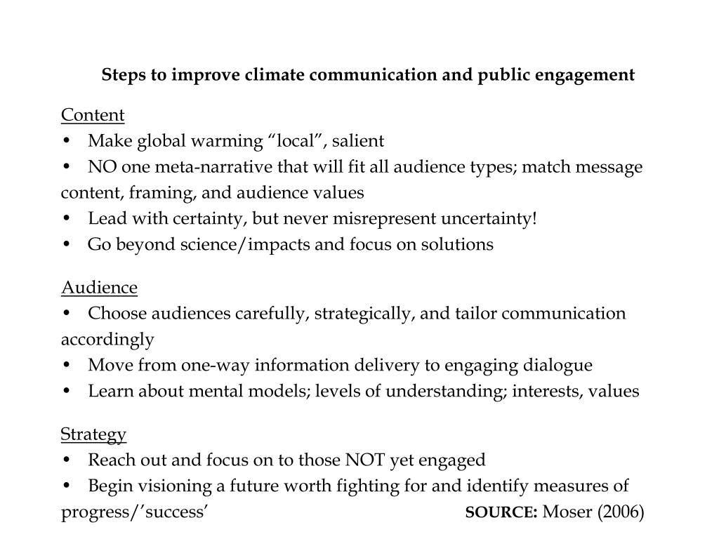 Steps to improve climate communication and public engagement