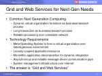 grid and web services for next gen needs