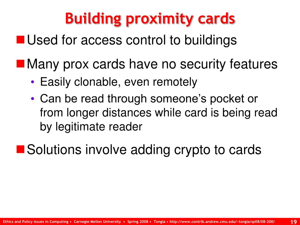 Building proximity cards