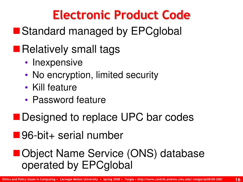 Electronic Product Code