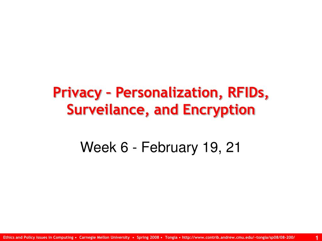 privacy personalization rfids surveilance and encryption l.