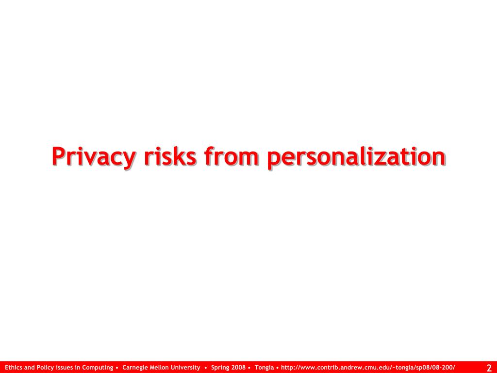 Privacy risks from personalization