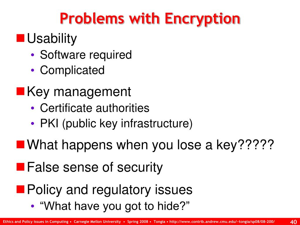 Problems with Encryption