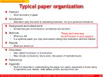 typical paper organization