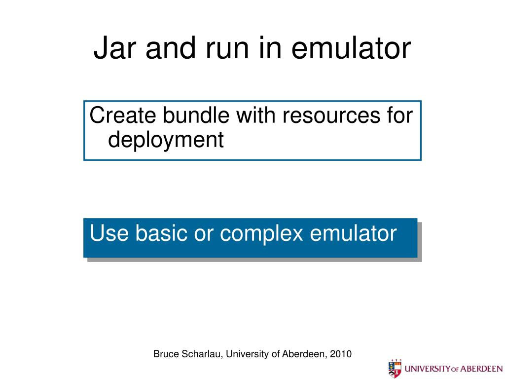 Jar and run in emulator