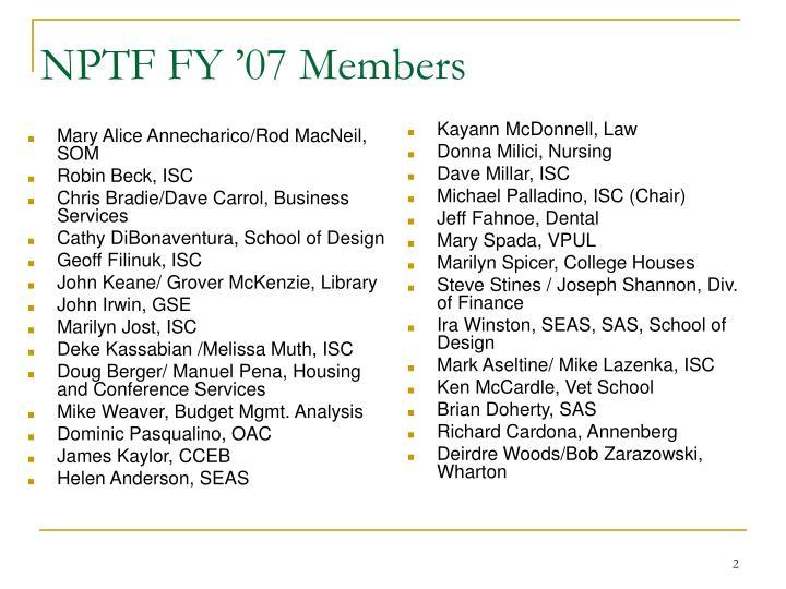 Nptf fy 07 members