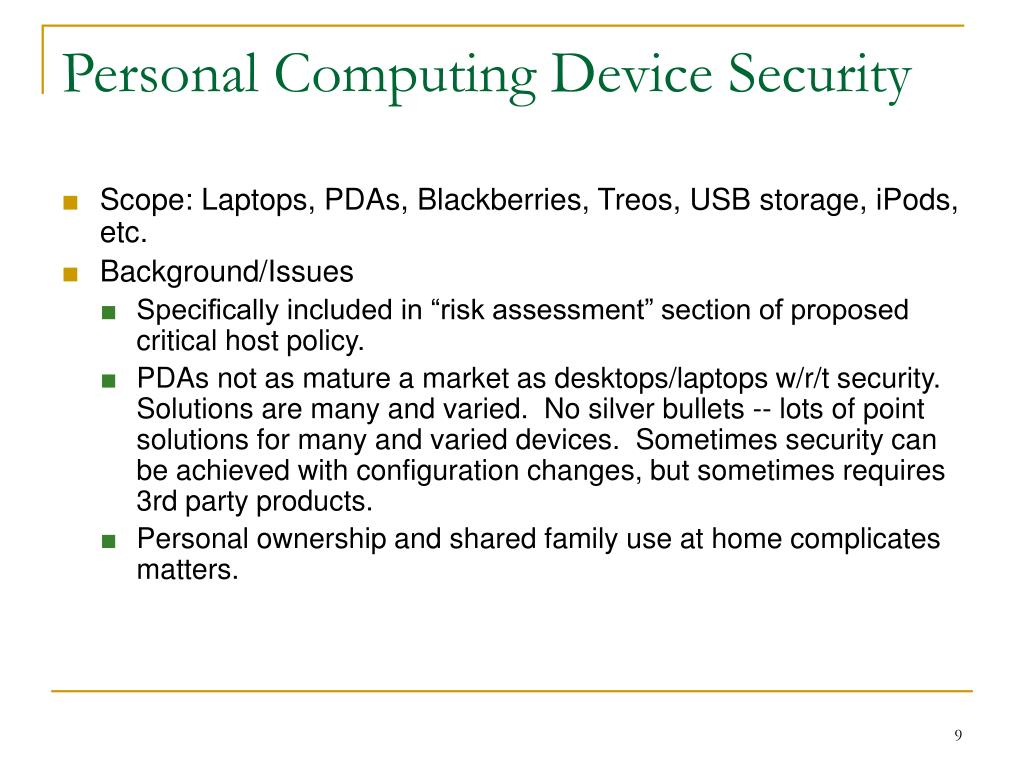 Personal Computing Device Security