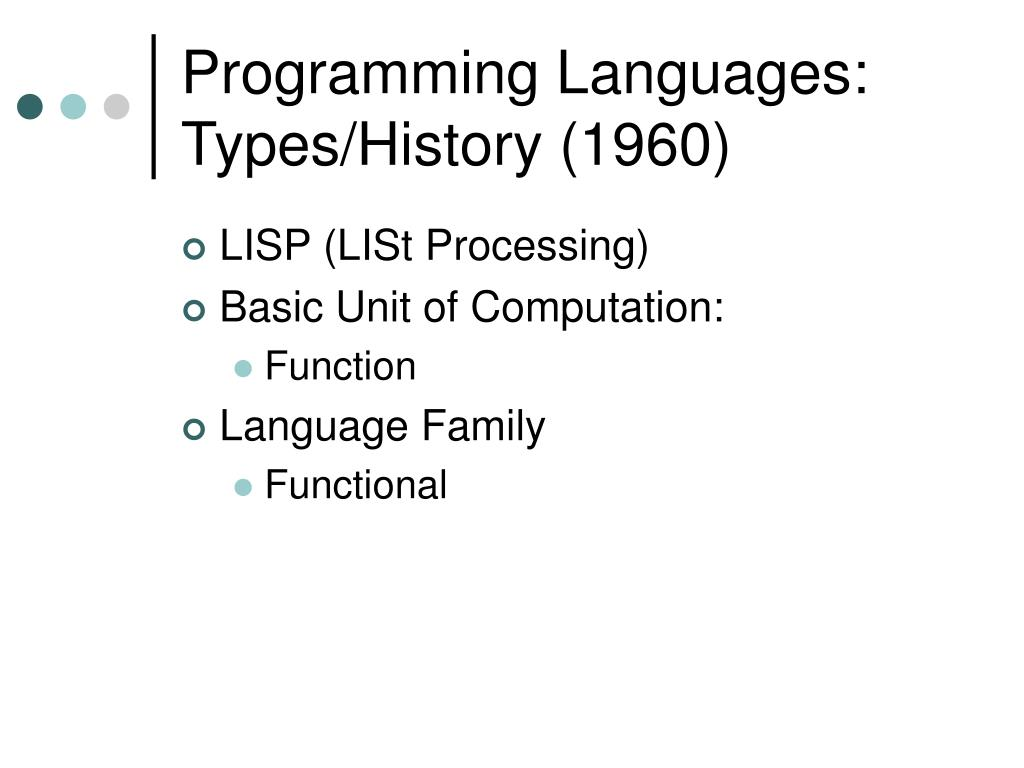 Programming Languages: Types/History (1960)