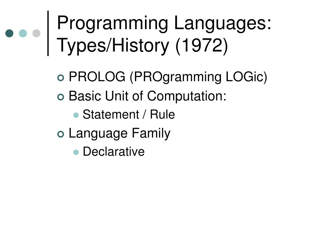 Programming Languages: Types/History (1972)