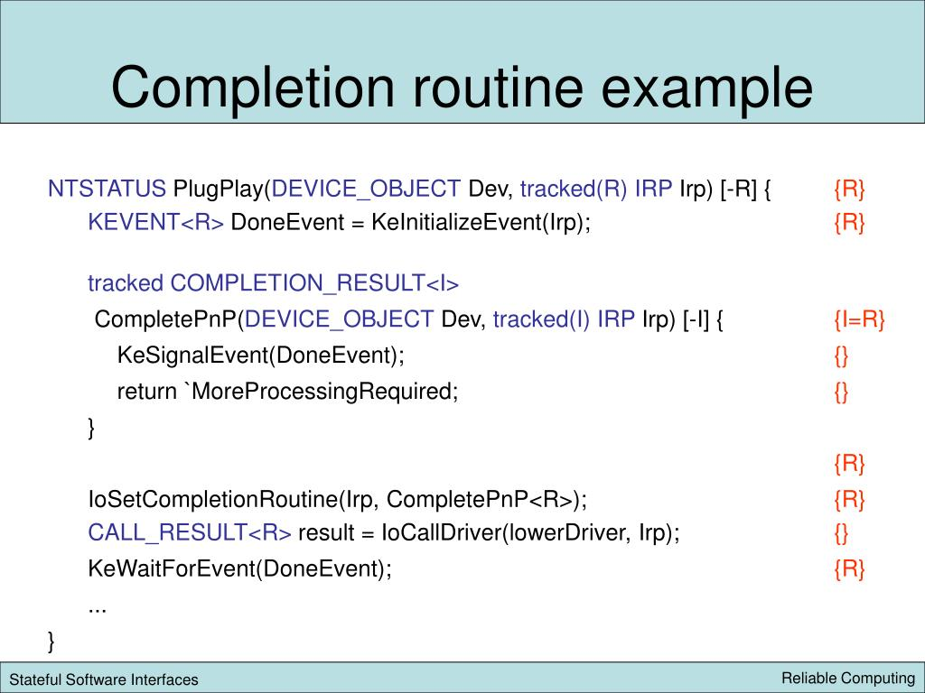 Completion routine example