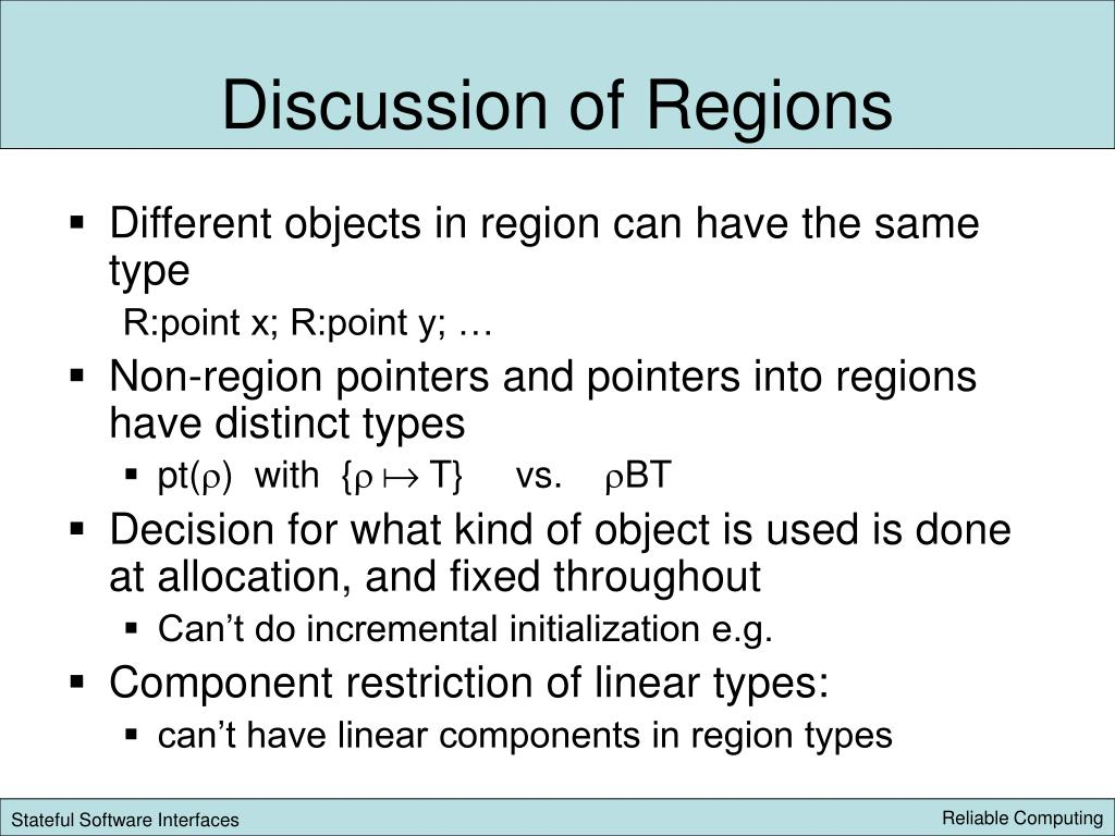 Discussion of Regions