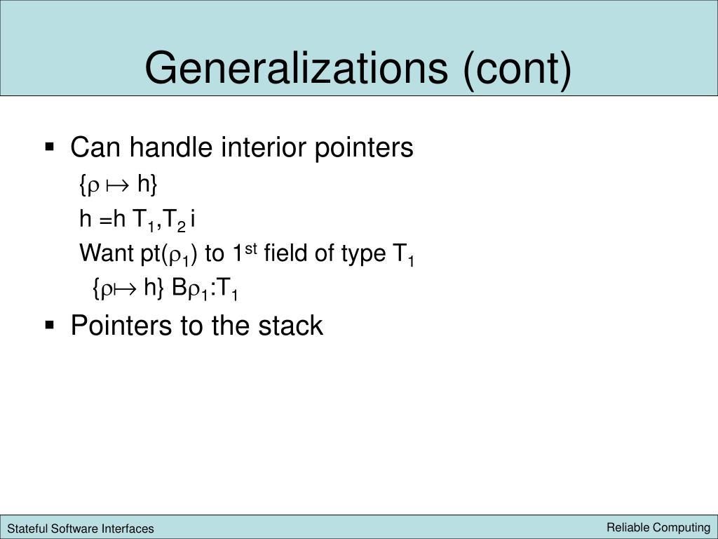 Generalizations (cont)