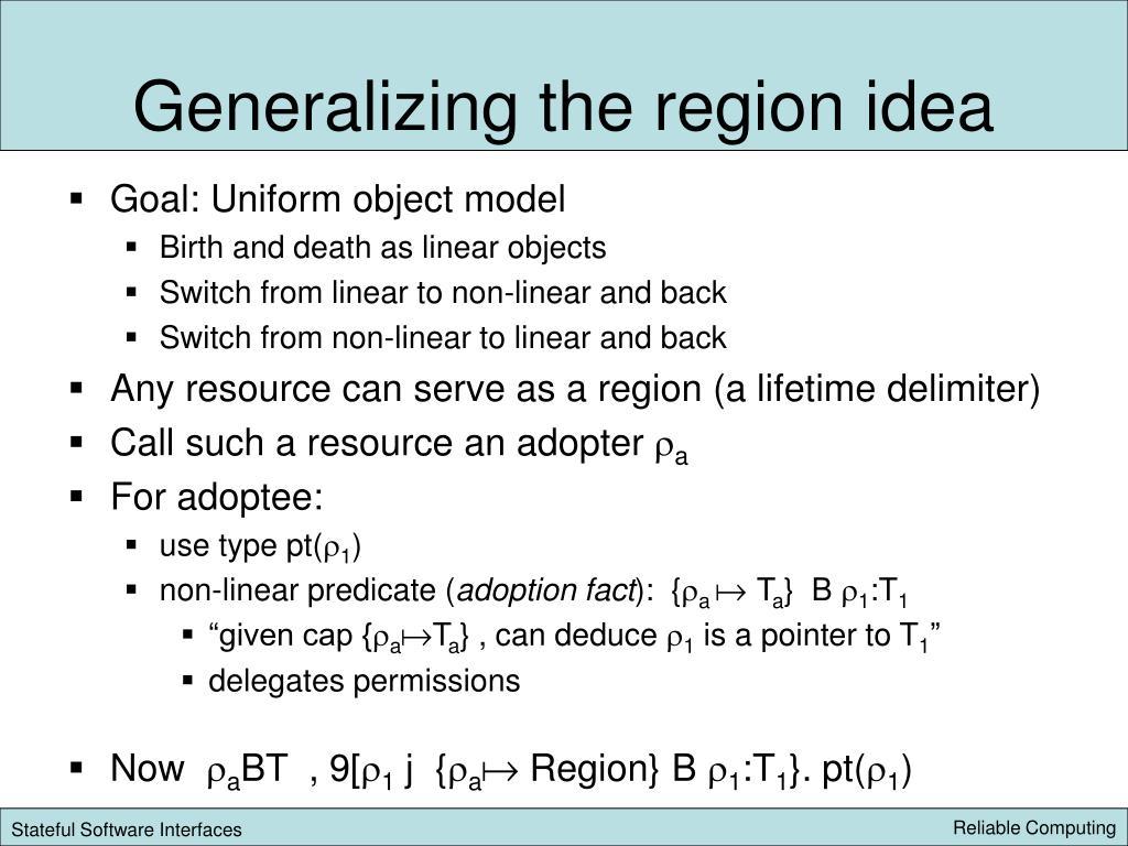Generalizing the region idea