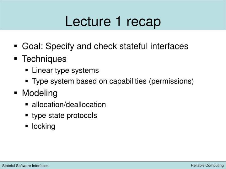 Lecture 1 recap