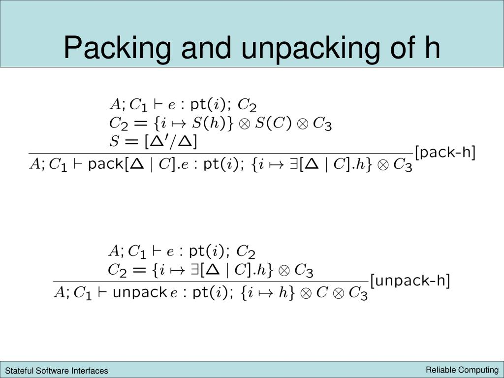 Packing and unpacking of h