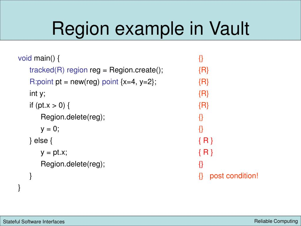 Region example in Vault