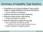 summary of capability type systems