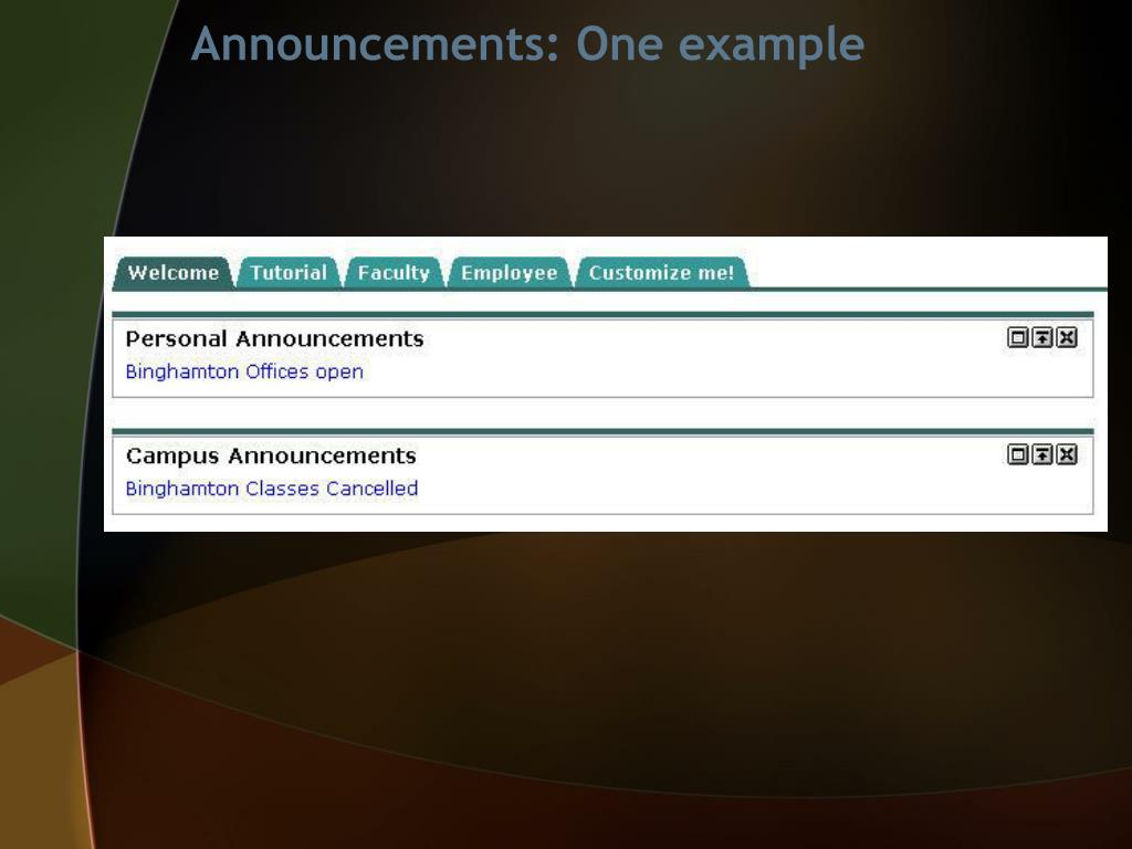 Announcements: One example