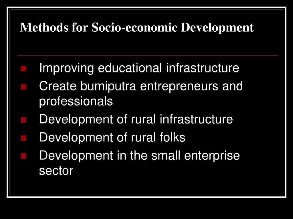 Methods for Socio-economic Development