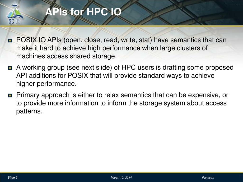 APIs for HPC IO