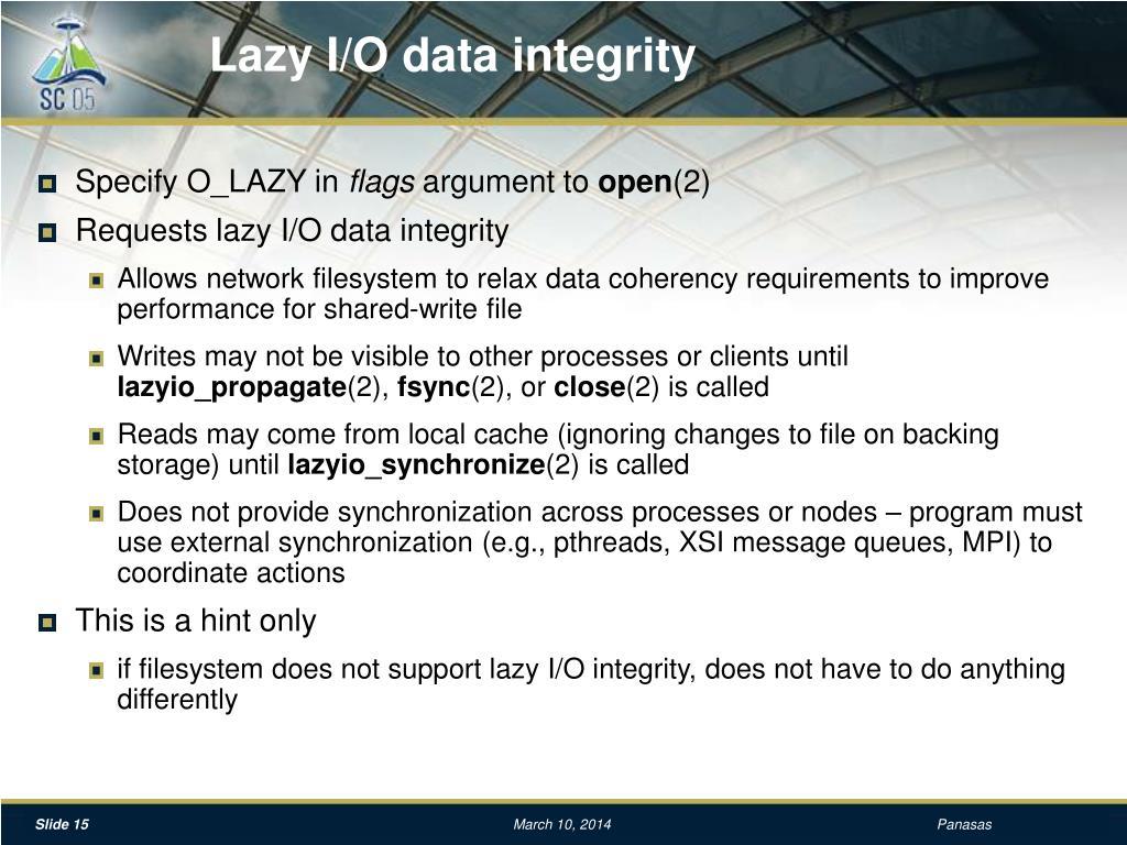 Lazy I/O data integrity